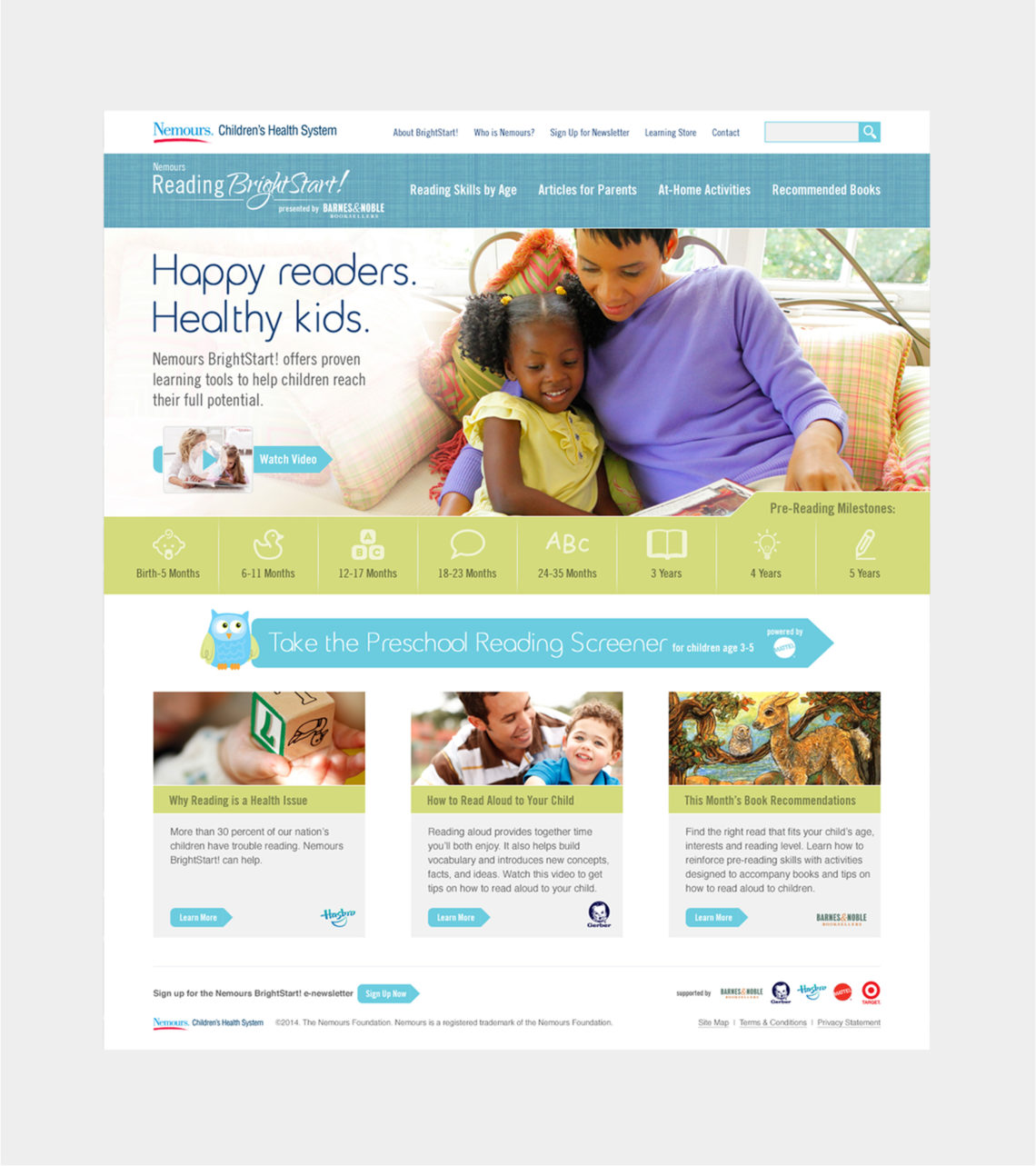 Nemours Reading BrightStart! Web Development